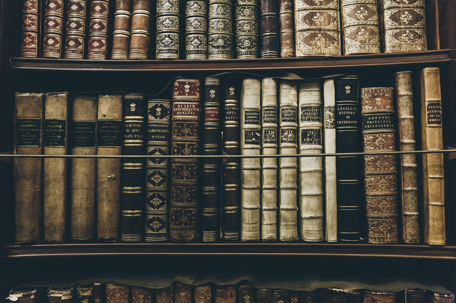 Old books lined up on a bookshelf