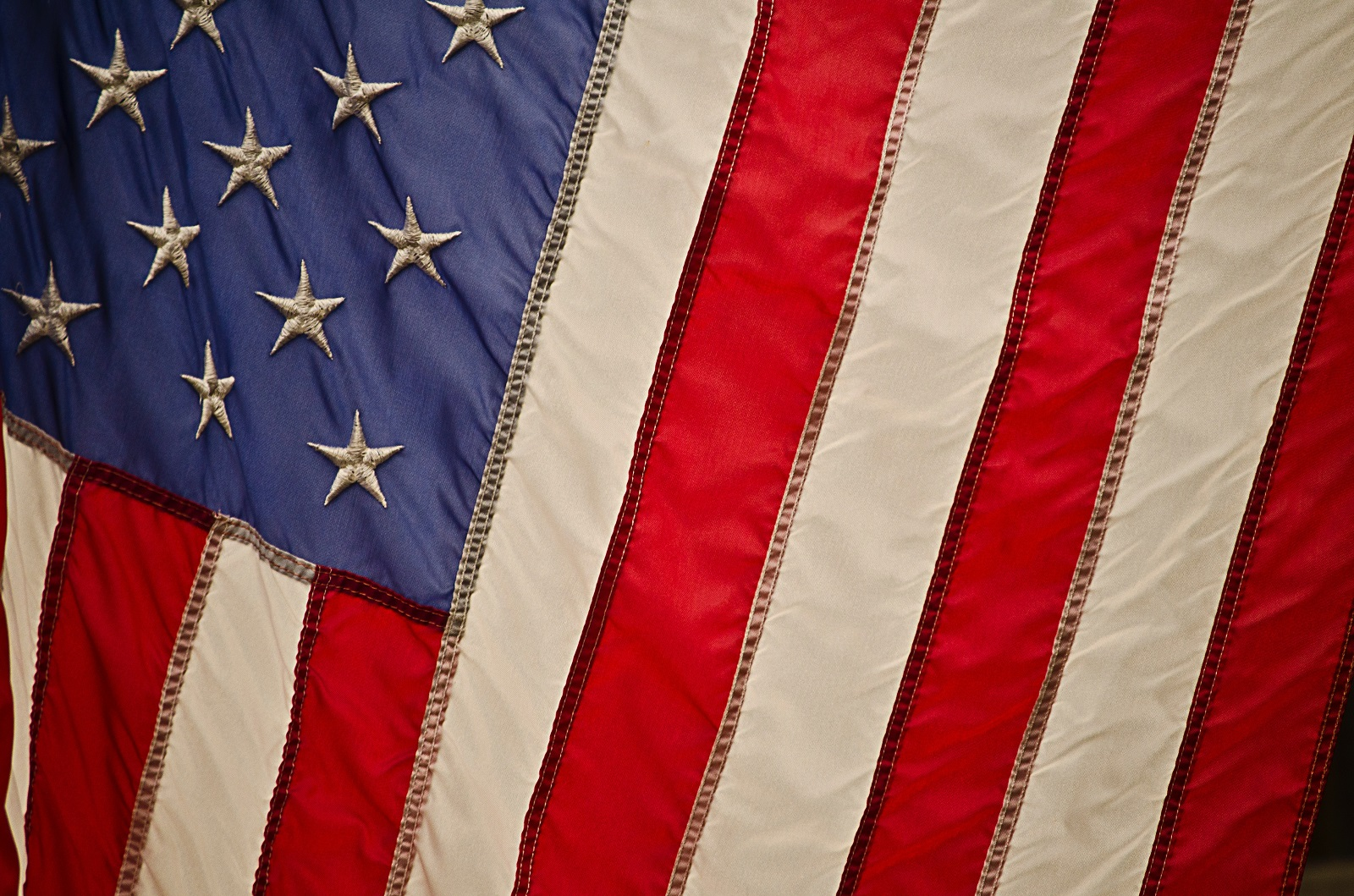 An up-close photo of a section of the American flag